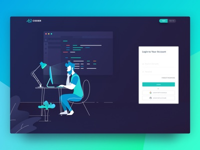 Coder Login Page cloud ide office coding ux ui working illustration login