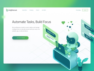 Bot Ai Hero tech web landing automation chat isometric robot illustration ai bot