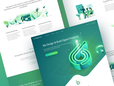 Brightscout New Homepage design product glowing agency technology blockchain illustration isometric