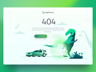 Brightscout 404 Page version 2 delorean hero page illustration time travel trex error missing dinosaur lost page 404