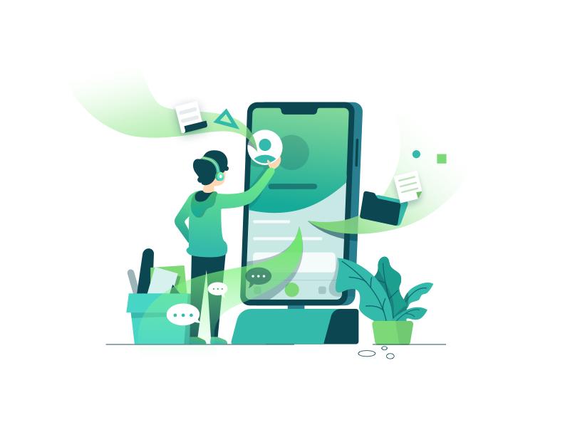 Driven By Design Illustration 2d process character mobile laptop technology iphone design illustration