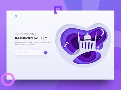 Ramadan Kareem hero homepage web landing muslim moon illustrations mubarak kareem ramadan