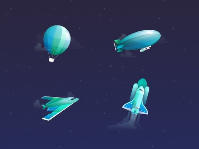 Pricing Illustration for Coder icon space spacecraft rocket zeppelin stealth hot air balloon space shuttle illustration pricing