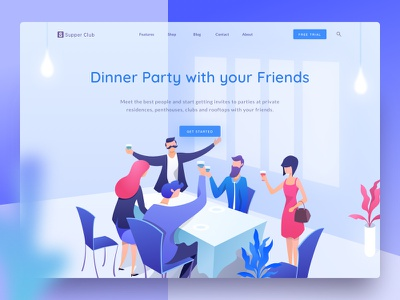 Dinner Party meeting restaurant club landing web party dinner illustration