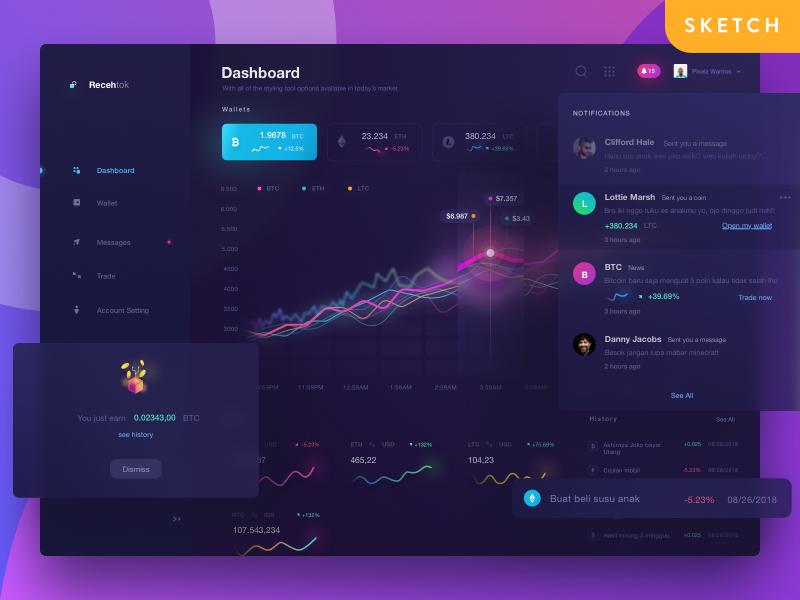 Recehtok Crypto Dashboard freebie mining blockchain wallets bitcoin dark dashboard currency coin crypto