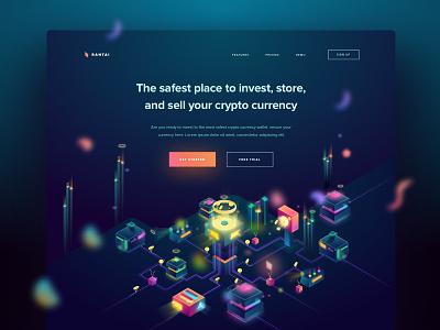 Rantai Landing Page web isometric illustration factory crypto currency landing mining wallet blockchain