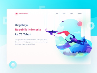 Dirgahayu Indonesia dirgahayu mountain hero hutri independence day skydiving skydive isometric landing illustration