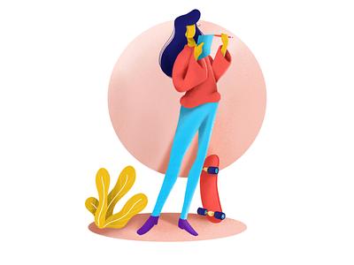 Finding the best guru mentor education design character skateboard student procreate isometric illustration