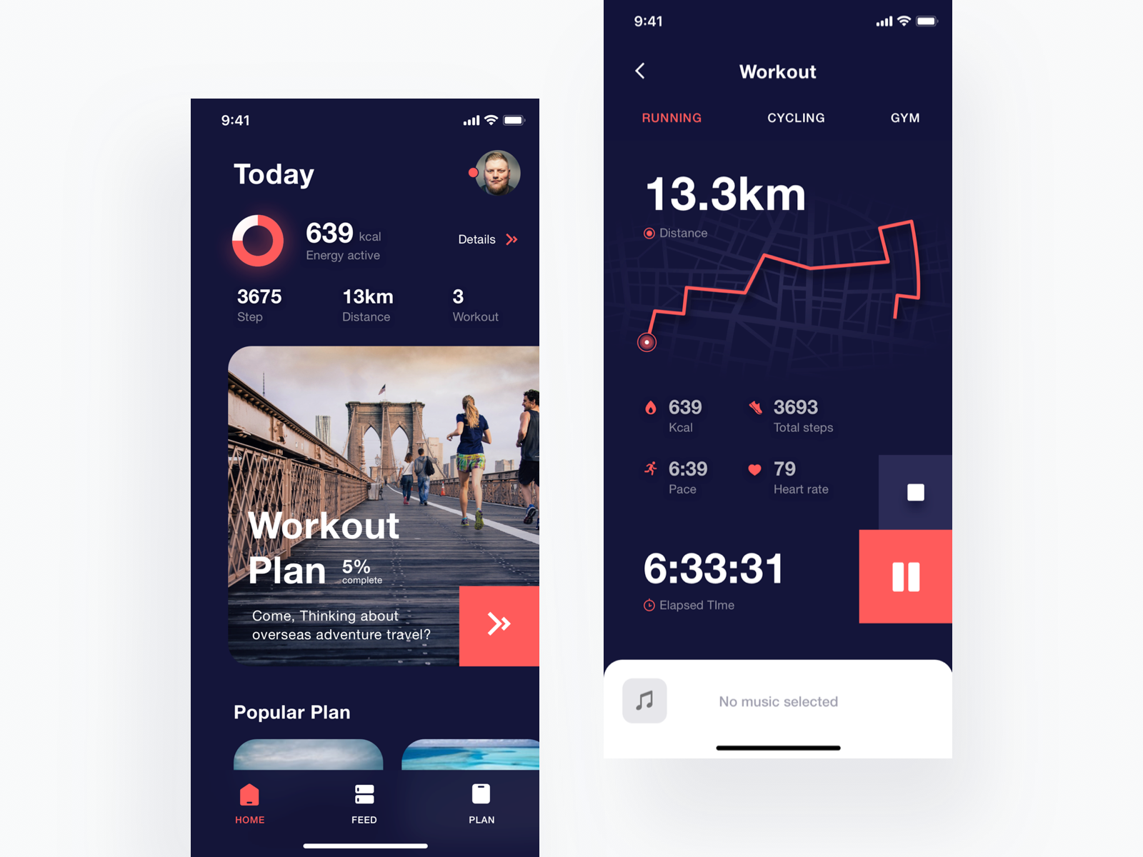 Workout App Exploration music workout track stats iphone x activity heart rate health fitness map cycling gym sport running app