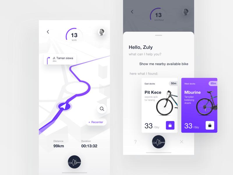 Smart Bike Sharing Exploration card 3d mapping navigation rent rental bot chat assistant artificial intelligence app sharing map bike smart iphonex