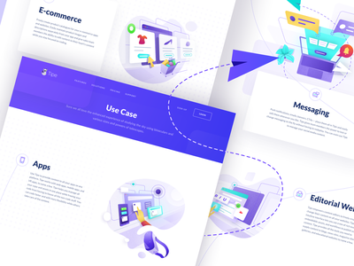 Use Case Page web design web page hero character bot laptop editorial dashboard shopping cart case study use case ui landing icon isometric illustration