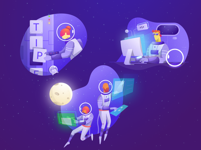 All sections illustrations for Tipe homepage coding programming coder galaxy space earth moon sketch astronaut isometric illustration