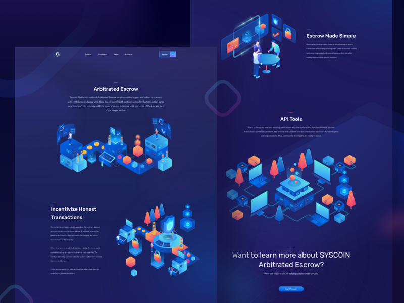 Syscoin - Arbitrated Escrow Page hero bitcoin ethereum finance isometric escrow wallet blockchain crypto currency crypto landing illustration