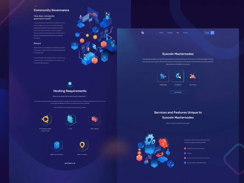 Syscoin - Masternodes Page bitcoin crypto currency masternodes crypto blockchain website character web isometric hero landing illustration