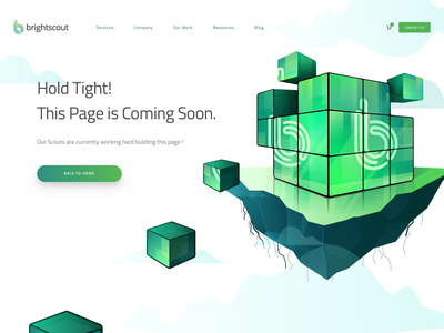 Brightscout Coming Soon island landing page coming soon isometric header hero cube rubiks illustration