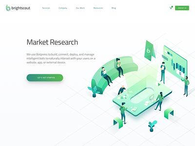 Market Research Hero teamwork discussion research market header isometric landing illustration hero