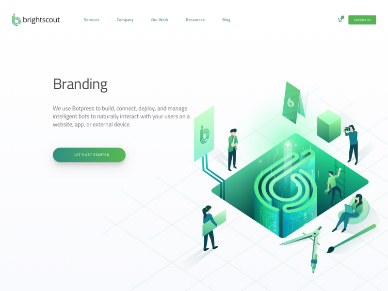 Branding Hero Illustration page research teamwork branding header character landing hero isometric illustration