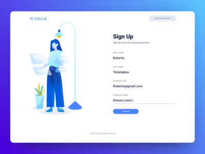 Joule Sign Up Page