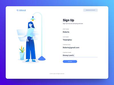Joule Sign Up Page design flat signup register hero form page login minimal electricity illustration