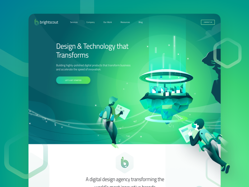 New Illustration For Brightscout Homepage bradning homepage ui astronaut character cityscape landing hero city futuristic illustration