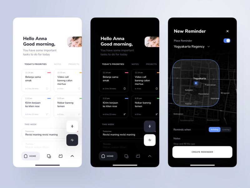 Tasuku Dark Theme - Smart To do app reminder task note productivity management ui minimal dark map list todolist todo app