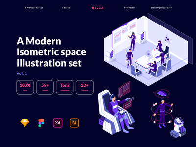 Modern Isometric Space Illustration Pack planet moon spaceship space ui ux crypto website kit character isometric hero landing illustration