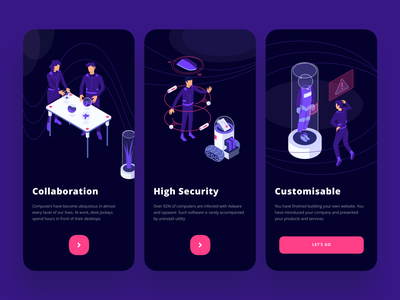 Onboarding Using Rezza Isometric Pack security ux kit isometric workspace app ui crypto planet space onboarding hero illustration