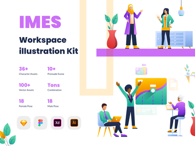 IMES Workspace 2D Illustration Kit character vector meeting collaboration hijab work together teamwork startup working space workspace kit hero ui illustration