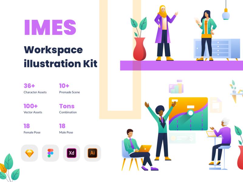 IMES Workspace 2D Illustration Kit character vector meeting collaboration hijab work together teamwork startup working space workspace kit hero ui illustration