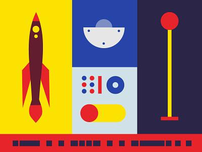 5...4...3...2...1 vector color minimal galaxy stars blast off rocket illustration space
