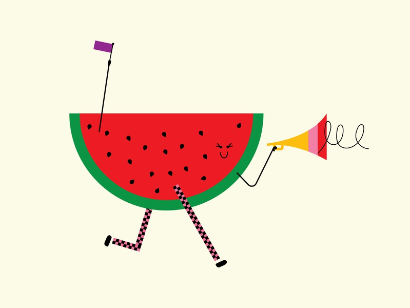 Watermelon watermelon celebrate minimal color rainbow pride graphic character doodle illustration design