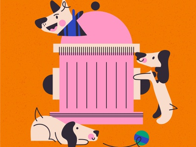 Did someone say ball? vector dog characters doodle illustration