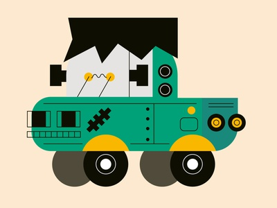 Uh oh..Frankie is loose again... frankenstein truck inktober halloween vector graphic characters color minimal illustration