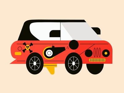 Arghhh, out to steal your booty. pirate car halloween inktober character graphic characters vector color minimal illustration