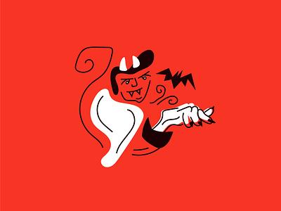 satan casting spells spooky satan halloween inktober doodle design minimal character characters illustration