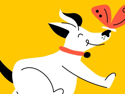 Dog & his little friend character design doodle vector characters illustration