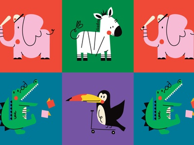 Animals crocodile tucan elephant zoo animals animal character design color graphic characters minimal illustration