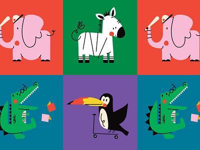 Animals crocodile tucan elephant zoo animals animal character design color graphic characters minimal illustration