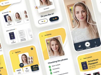 PhotoAiD Mobile App Showcase animations yellow mobile app ui design redesign uiux ui mobile ux app animation