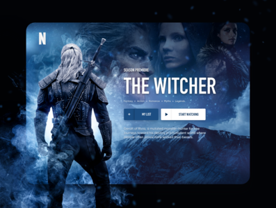 The Witcher concept user interface uidesign ui uxui witcher tv design tv series tv app tv show player video netflix streaming dashboard ux