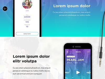 Wireframing vs Visual gradient music app landing page visual design ux wireframes ui