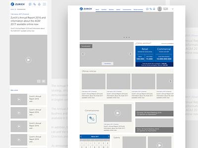Zurich Intranet ux high fidelity blue wireframes ui zurich intranet