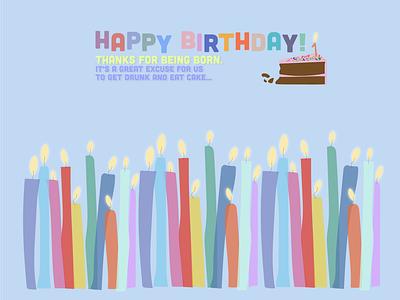 HappyBirthday greeting card cake candle web design happy birthday graphic design flat postcard illustration