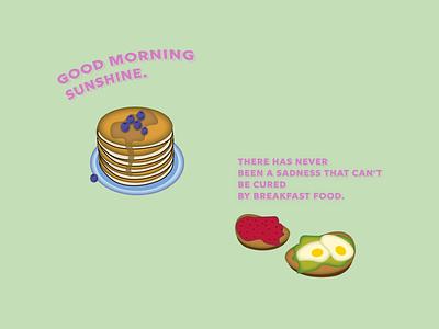 Morning menu jam sunshine food breakfast avocado flat design illustration morning pancake