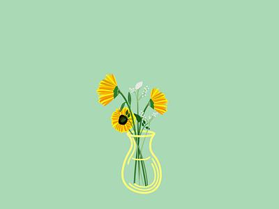 Sunflower green yellow simple flower web flat graphic design art illustration sun sunflower design