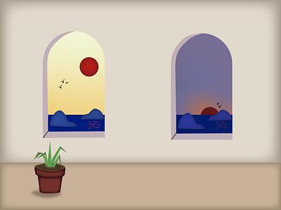 Window sun web graphic design flat art illustration design sunset window