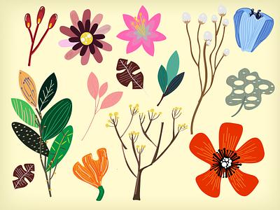 flowers  2 vector branding pattern flower art web graphic design flat illustration design