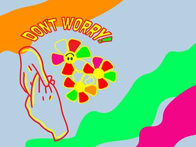 Be HAPPY retro vector brand logo flower art web graphic design illustration flat design