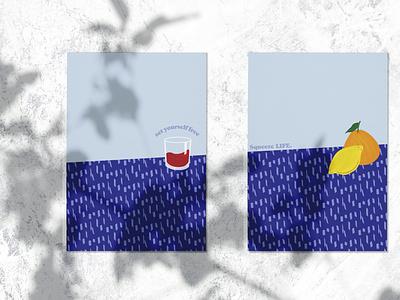 Blue lemon lemon pattern brand vector art web graphic design illustration flat design