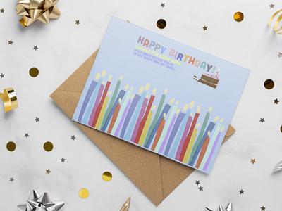 Happy birthday art postcard design web graphic design illustration flat design